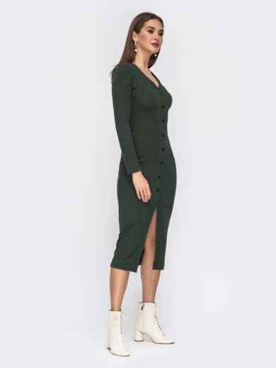 Обтягивающее платье из трикотажа с нитью люрекса зелёное 42218, фото 3