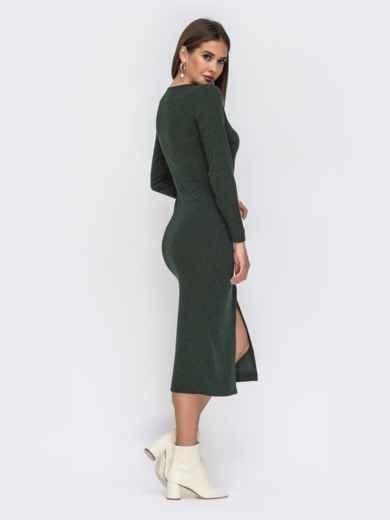 Обтягивающее платье из трикотажа с нитью люрекса зелёное 42218, фото 4
