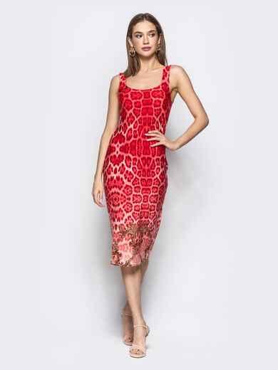 Обтягивающее платье с анималистичным принтом красное - 22365, фото 1 – интернет-магазин Dressa