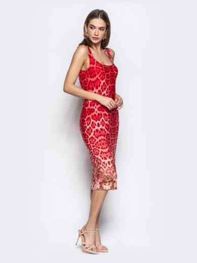 Обтягивающее платье с анималистичным принтом красное - 22365, фото 2 – интернет-магазин Dressa