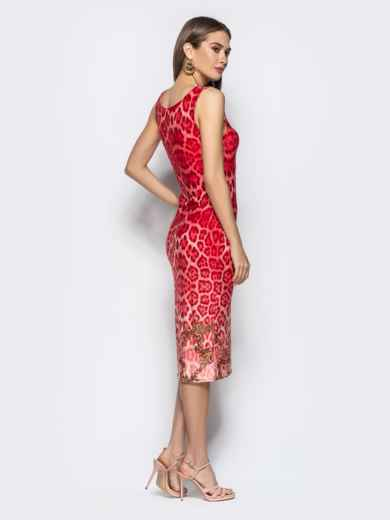 Обтягивающее платье с анималистичным принтом красное - 22365, фото 3 – интернет-магазин Dressa