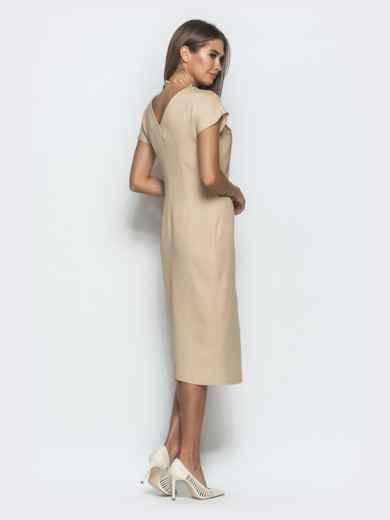 Платье бежевого цвета с V-вырезом по спинке - 39922, фото 3 – интернет-магазин Dressa