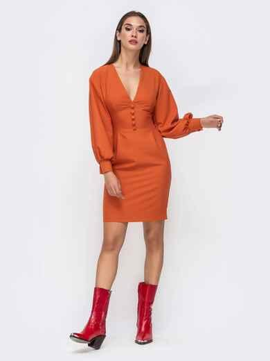 Платье оранжевого цвета с V-вырезом 41750, фото 1