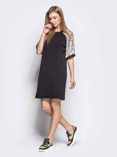 Прямое платье с бежевыми принтованными рукавами-реглан - 21632, фото 2 – интернет-магазин Dressa