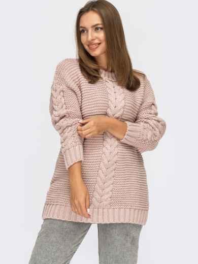 Пудровый свитер с косами по полочке и рукавам 54887, фото 1
