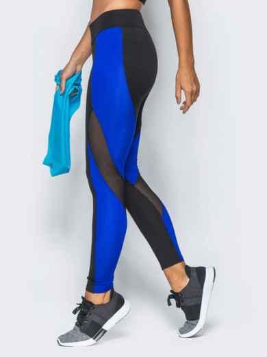 Спортивные лосины с синими вставками и эластичной сеткой - 17186, фото 2 – интернет-магазин Dressa