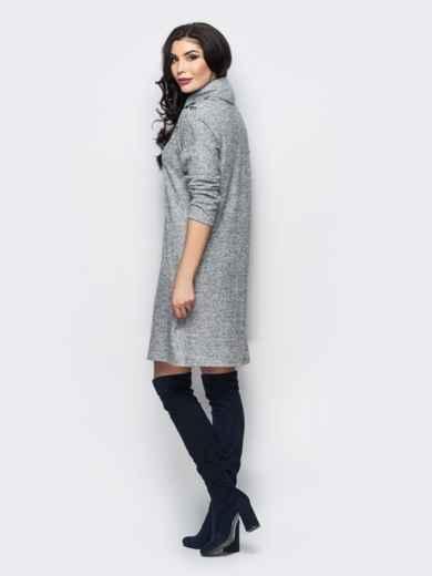 Трикотажное платье-гольф с цветочным принтом серое - 13158, фото 4 – интернет-магазин Dressa