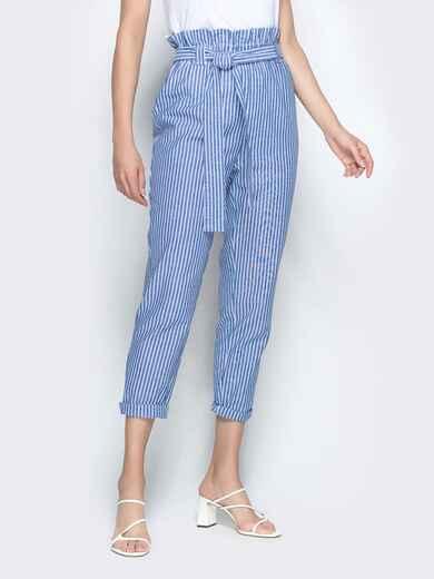 Укороченные брюки в полоску с высокой посадкой голубые 39500, фото 1