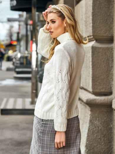 Ажурный свитер с высоким воротником и манжетами белый - 42045, фото 2 – интернет-магазин Dressa