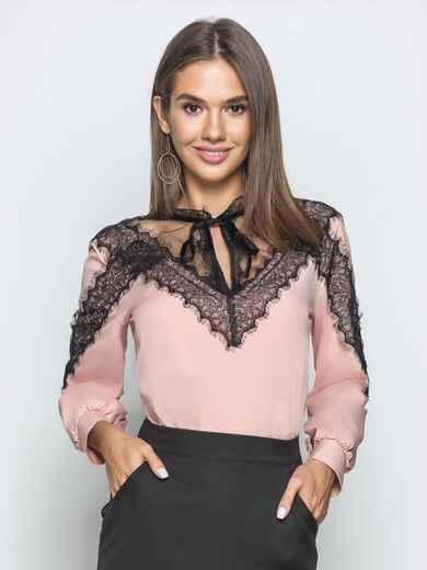 Блузка пудрового цвета с кружевными вставками - 39755, фото 1 – интернет-магазин Dressa