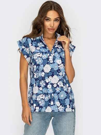 """Блузка в цветочный принт и рукавом """"крылышко"""" синяя 53889, фото 1"""