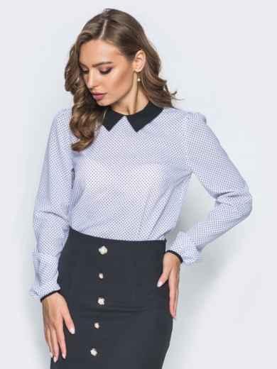 Блузка в горох с воротником и пуговицей сзади - 14201, фото 2 – интернет-магазин Dressa