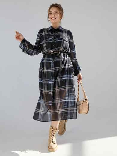 Черное платье-рубашка батал в клетку с разрезами по бокам 53361, фото 1