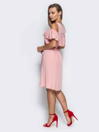 Платье с оборкой и открытыми плечами розовое - 14627, фото 3 – интернет-магазин Dressa