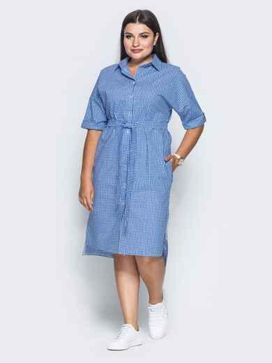 Платье с удлиненной спинкой и поясом в комплекте синее - 14632, фото 1 – интернет-магазин Dressa