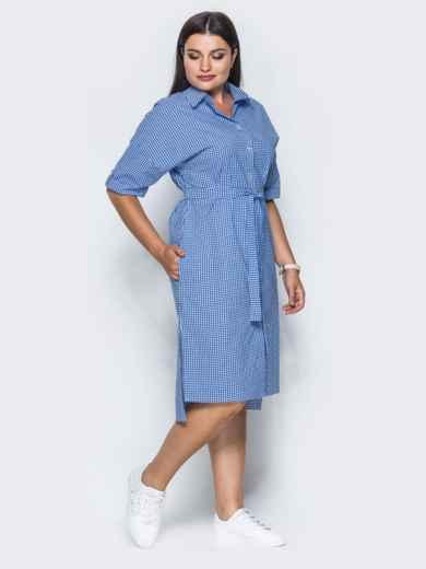 Платье с удлиненной спинкой и поясом в комплекте синее - 14632, фото 2 – интернет-магазин Dressa