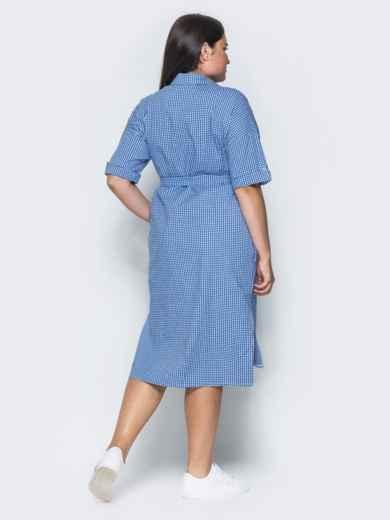 Платье с удлиненной спинкой и поясом в комплекте синее - 14632, фото 3 – интернет-магазин Dressa