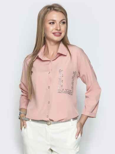 Пудровая блузка со стразами и удлиненной спинкой - 39736, фото 1 – интернет-магазин Dressa