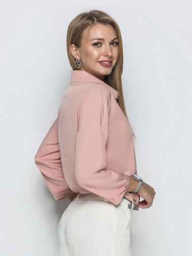 Пудровая блузка со стразами и удлиненной спинкой - 39736, фото 3 – интернет-магазин Dressa