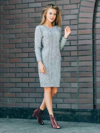 Серое вязаное платье с резинкой на манжетах и по низу - 13162, фото 3 – интернет-магазин Dressa