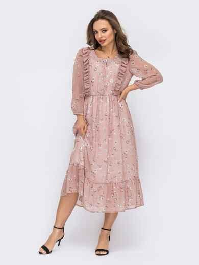 Шифоновое платье с цветочным принтом розовое 53736, фото 1