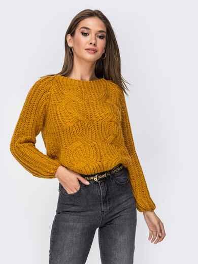 Укороченный свитер с рукавом-реглан горчичный - 41803, фото 1 – интернет-магазин Dressa