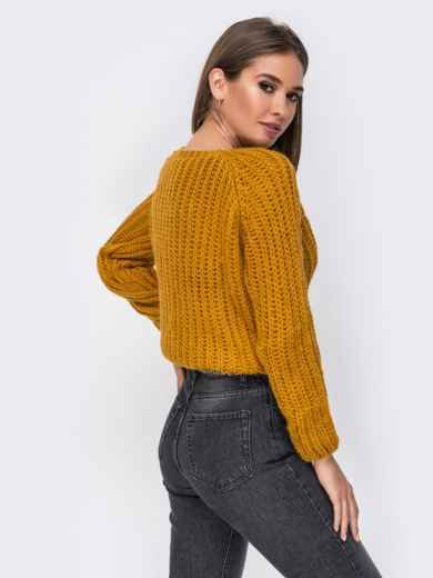 Укороченный свитер с рукавом-реглан горчичный - 41803, фото 2 – интернет-магазин Dressa