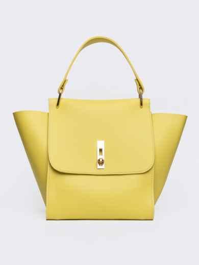 Вместительная сумка желтого цвета на клапане - 21457, фото 2 – интернет-магазин Dressa
