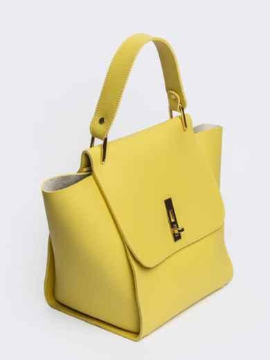 Вместительная сумка желтого цвета на клапане - 21457, фото 4 – интернет-магазин Dressa