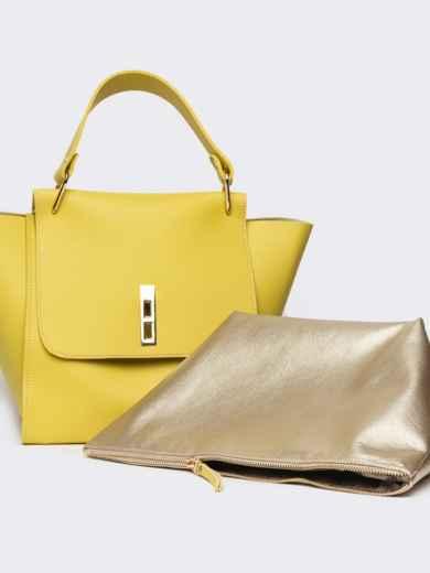 Вместительная сумка желтого цвета на клапане - 21457, фото 5 – интернет-магазин Dressa