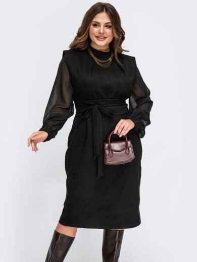 Комбинированное платье батал с шифоновыми рукавами черное 55551, фото 1