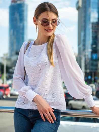 Белая блузка из прошвы с шифоновыми рукавами 49851, фото 2