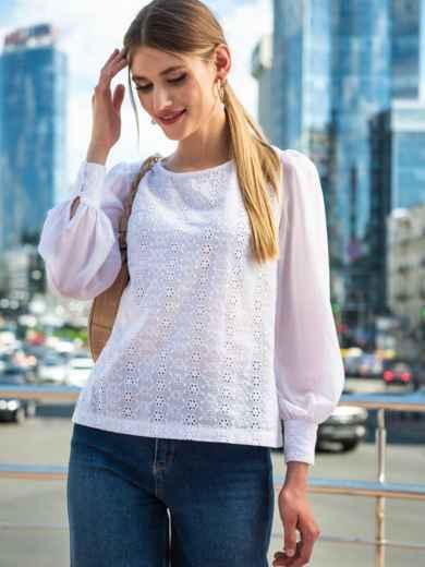 Белая блузка из прошвы с шифоновыми рукавами 49851, фото 3
