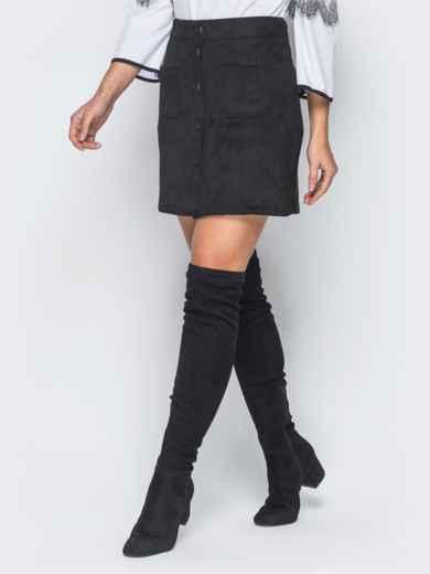 Черная замшевая юбка на пуговицах - 18691, фото 2 – интернет-магазин Dressa