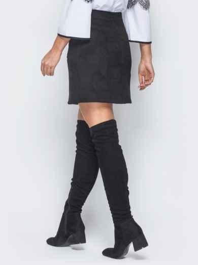 Черная замшевая юбка на пуговицах - 18691, фото 3 – интернет-магазин Dressa