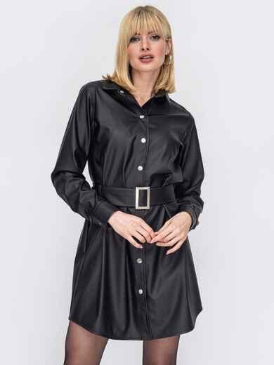 Черное платье-рубашка из экокожи 53173, фото 1
