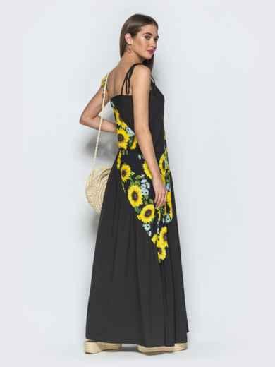 Чёрное платье в стиле oversize с принтованными вставками 39281, фото 2