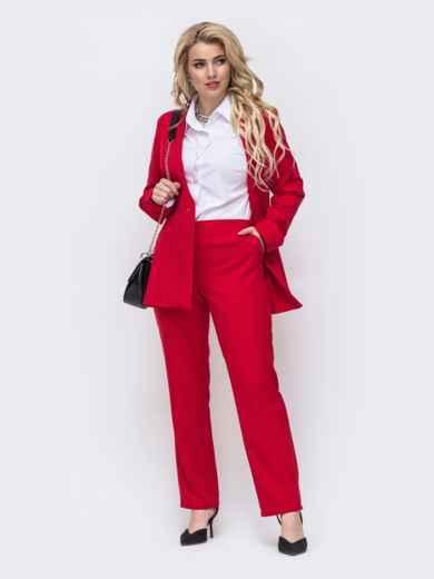 Красный комплект большого размера из жакета и брюк 50935, фото 2