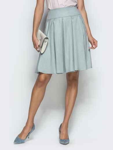 Льняная юбка с бантовыми складками и карманами мятная 39808, фото 1