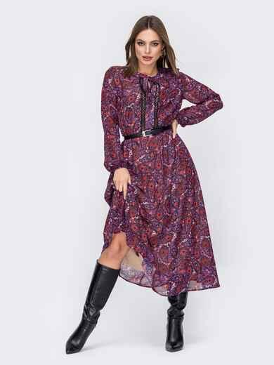 Шифоновое платье с принтом и расклешенной юбкой фиолетовое 52360, фото 1