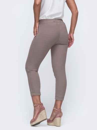 Укороченные брюки большого размера бежевого цвета 50024, фото 2