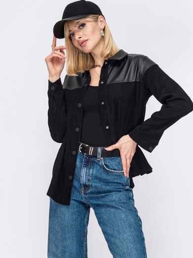 Вельветовая рубашка со вставками из экокожи черная 53175, фото 1