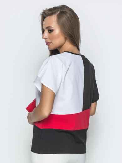 Чёрная блузка из софта с цельнокроеным рукавом - 39659, фото 2 – интернет-магазин Dressa