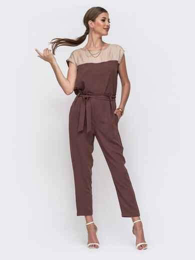 Комплект из блузки с контрастной кокеткой и брюк коричневый 49421, фото 1