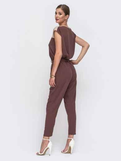 Комплект из блузки с контрастной кокеткой и брюк коричневый 49421, фото 3