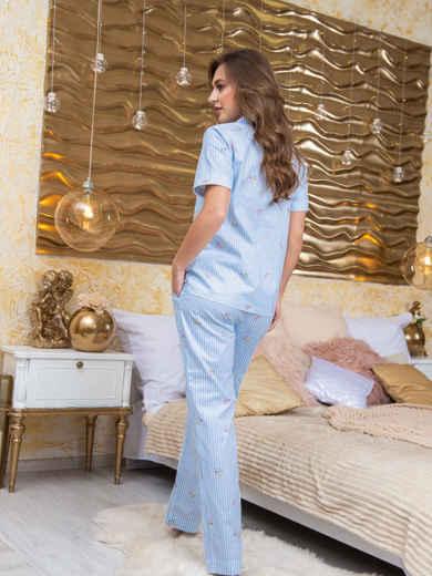 Принтованная пижама из рубашки и брюк голубая - 20707, фото 2 – интернет-магазин Dressa