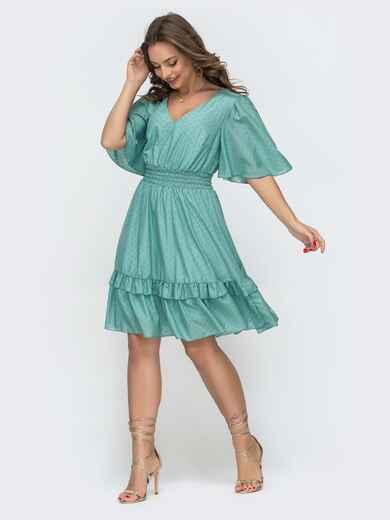 Приталенное платье из шифона бирюзовое 46874, фото 1
