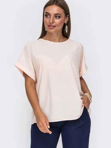 Пудровая блузка свободного кроя с цельнокроеным рукавом 49537, фото 1