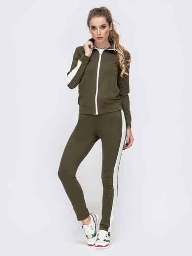 Спортивный костюм с лампасами из кофты и брюк хаки 41980, фото 1