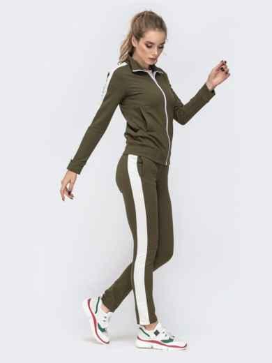 Спортивный костюм с лампасами из кофты и брюк хаки 41980, фото 2
